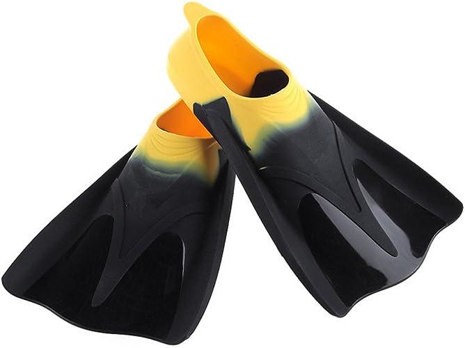 Micss-Fins Flippers de plongée Plongée en apnée et Natation Palmes de Voyage Flipper pour la Natation et la plongée en apnée Palmes de Natation (Couleur   Jaune, Taille   M)