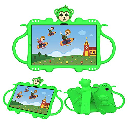 Macoku Kids Case for Samsung Galaxy Tab A7 10.4 Inch 2020 Model SM-T500/T505/T507 2020 Release, Shockproof Protective Handle with Shoulder Strap Stand Cover Silicone Case (Green)