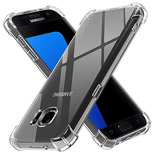 ivoler Funda para Samsung Galaxy S7, Carcasa Protectora Antigolpes Transparente con Cojín Esquina Parachoques, Suave TPU Silicona Caso Delgada Anti-Choques Case