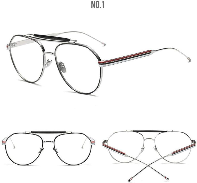 GCCI Sommer-Mode-Sonnenbrille-Entwurfs-Goldglas-klare optische Schauspiele, Rahmen-Glas-Mann-Frauen-optische Luftfahrt-Glas-Art-Persnlichkeit,C2 Silber,