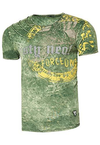 Rusty Neal Herren T-Shirt Rundhals Printed Tee Shirt Kurzarm Regular Fit Stretch 100% Baumwolle S M L XL XXL 3XL 228, Farbe:Khaki, Größe:2XL