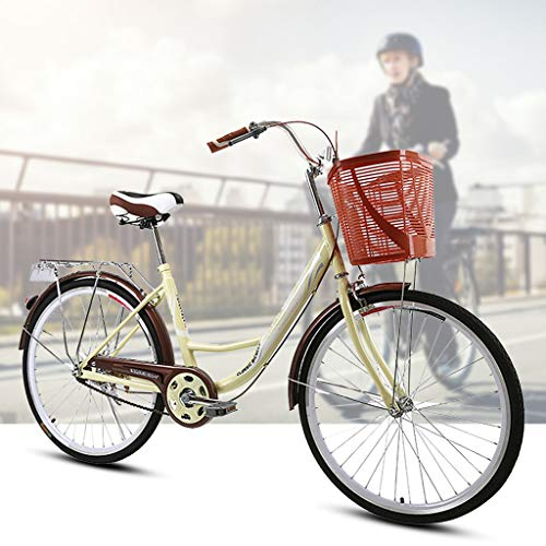 【US Spot】 Womens Beach Cruiser Bike-24 Inch Unisex Classic Iron Bicycle with Basket Retro Bicycle Unique Art Deco Scooter,Road Bike,Seaside Travel Bicycle,Single Speed, 24-inch Wheels (Coffee)
