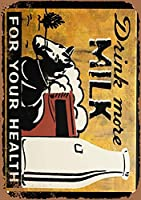 サイン、ティンサイン 飲むミルク 壁の装飾 金属サイン レトロな家の壁の装飾錫金属ギフト装飾ヴィンテージプラーク
