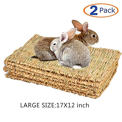 "Tfwadmx 17"" X 12"" Rabbit Grass Mat Natural Woven Seagrass Mat Bunny Bed Chew Mat Sleep for..."