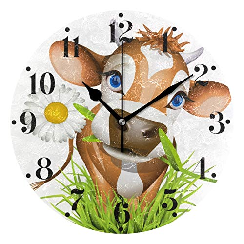 HANZHY Cow in Green Grass Wall Clock Hanging Quiet Non-Ticking Battery Operated Decorative Modern Round Wall Clock for Living Room Bedroom Kitchen Office