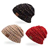 shuangjishan Knit Beanie Hat for Women Trendy & Soft Warm Winter Slouchy Beanie Thick Cable Knit Hats Ski Cap(Black/Red/Shallow Camel)