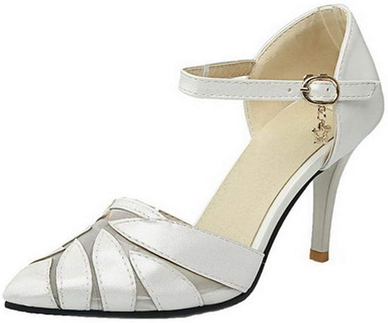 WeenFashion Women's Solid Pu High-Heels Buckle Open-Toe Sandals, AMGLX010576