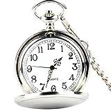 XLORDX Taschenuhr Herren Quarz Uhr mit Halskette Kette Uhr Pocket Watch Silber