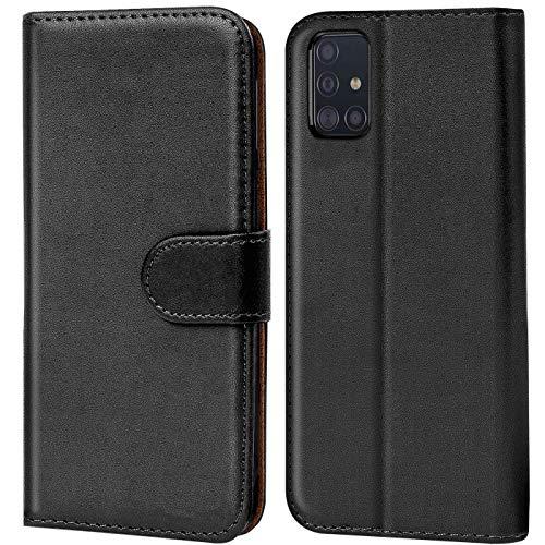 CoolGadget Handyhülle für Samsung A51 Hülle, Book Hülle Premium PU Leder Flip Cover Schutzhülle für Samsung Galaxy A51 Tasche, Schwarz