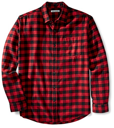 Amazon Essentials Herren-Flanellhemd, reguläre Passform, Langarm, kariert, Red Buffalo Plaid, US M (EU M)