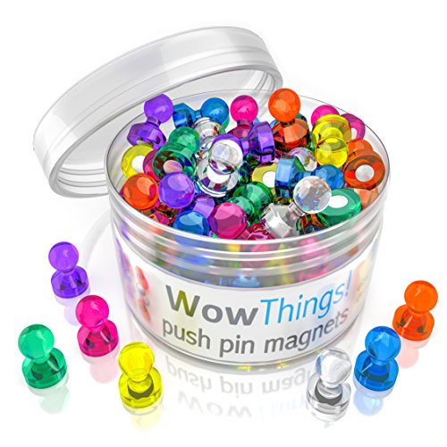 Push Pin Magnets, 42 Pack Assorted Colored Kitchen Office Magnets, Neodymium Mini Fridge Magnets Strong, Heavy Duty Push Pins, Perfect For Classroom Map Dry Erase Whiteboard Magnets, Teacher Magnets