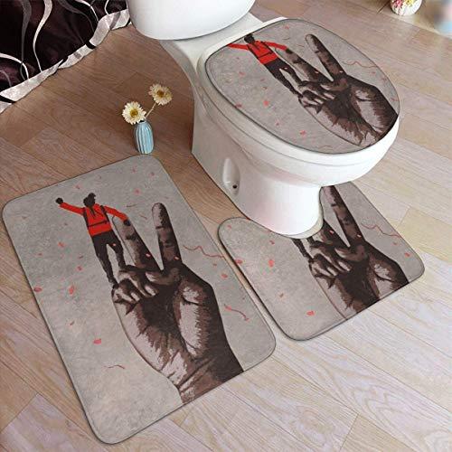 RedBeans Anti-Rutsch-Badvorleger, Flanell, 3-teiliges Set, große Hand in Victory weicher WC-Vorleger und Rutschfester Duschvorleger