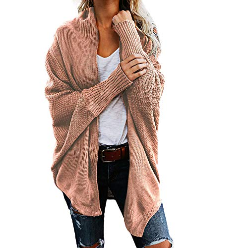 Dorical Strickjacke Damen Grobstrick Cardigan Strickmantel Herbst Strickcardigan Kurz Open Front Sweater Cardigan Cover Up Casual Outwear (Rosa, One Size)