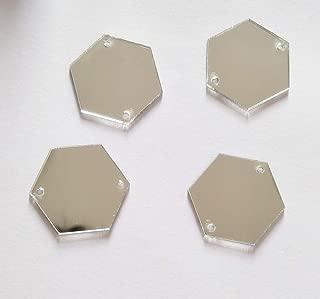 MEYA Sew On Hexagon Acrylic Mirror Beads, Mirror Diamante Rhinestone Crystal Flat Back Mirror Beads with Hole (Silver)