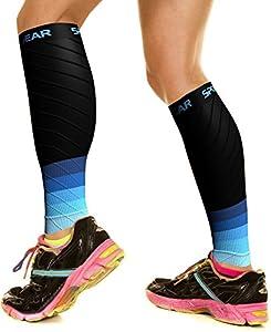 Physix Gear Sport Compression Calf Sleeves for Men & Women 20-30mmhg - Best Footless Compression Socks for Shin Splints, Running, Leg Ache, Nurses & Pregnancy -Increase Circulation - BLK/BLU L/XL from Physix Gear Sport