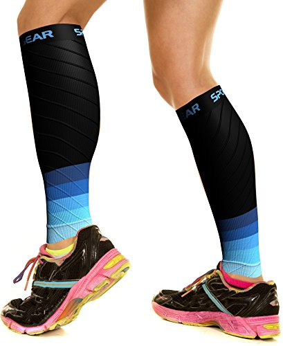 Physix Gear Sport Medias compresión Hombre y Mujer, Las Mejores pantorrilleras Running para Mejorar la circulación, Perneras Ciclismo para recuperar los músculos, 1 par, S/M - M/L, Negro/Azul