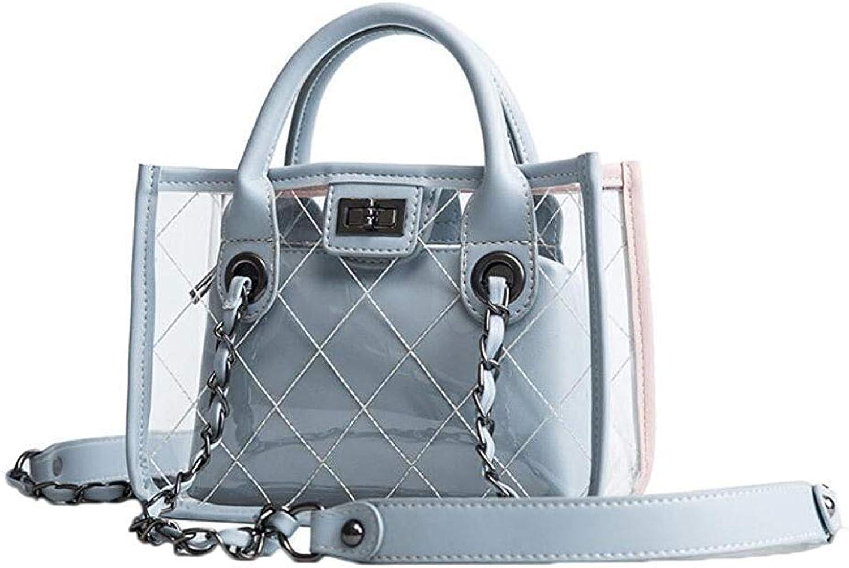 Ladies Handbag Women's Handbag, Transparent Waterproof Handbag PU Handbag (color   blueee, Size   One Size)