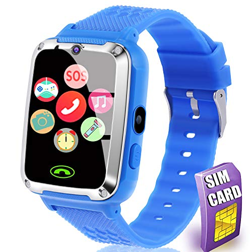 [SIM Card Include] Smart Watch for Kids - Kids Smart Watch Phone for Boys Girls with Touch Screen Games Music Player Alarm Clock Kids Smartwatch Electronic Wrist Watch for Birthday Gift (Blue)