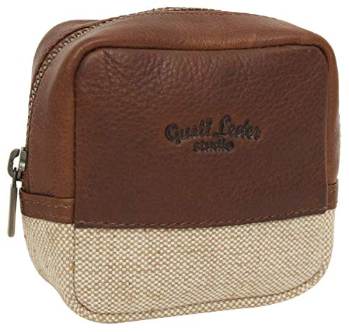 Gusti Leder 'Clara' wastas make-up tas toilettas make-up tas bruin leer canvas