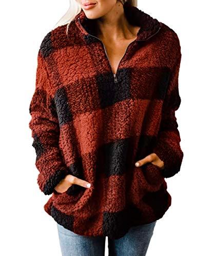 ZESICA Women's Plaid Long Sleeve Zipper Sherpa Fleece Sweatshirt Pullover Jacket Coat with Pockets Orange Red