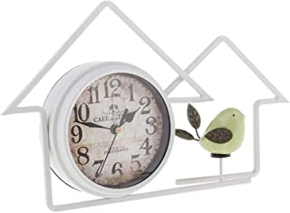 Vintage Retro Old Fashioned Decorative Quiet Non-Ticking Large Numerals Desk Clock, Battery Operated (White)