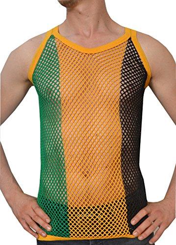 Crystal Mens 100% Cotton Stripe Mesh Fishnet Fitted String Muscle Vest (Medium, Black/Gold/Green Stripes)