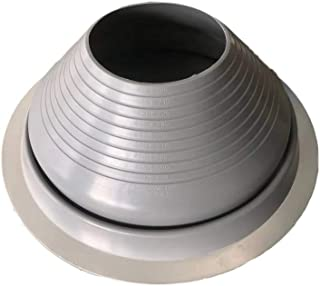 Rainbow Chimney Metal Roof Silicone Pipe Flashing Boot, OD 7''-13'', Round Base, Grey