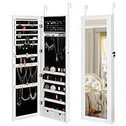 small HollyHOME Jewelry Cabinet Jewelry Cabinet Lockable Wall Door Organizer With Storage …