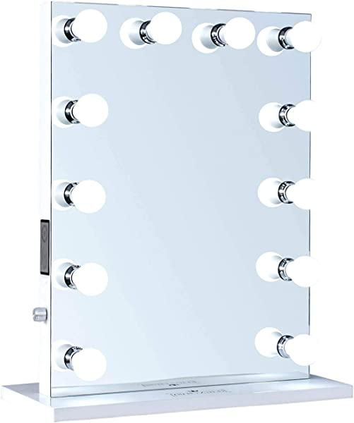 ReignCharm Hollywood Vanity Mirror Music Box Bluetooth Speaker 12 LED Lights Dual Outlets USB 22 Inches X 29 Inches
