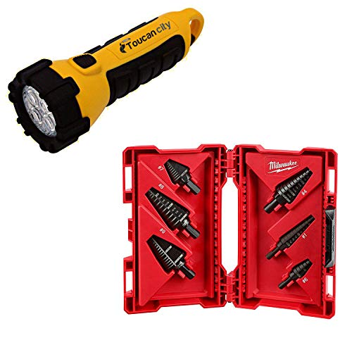 Toucan City LED Flashlight and Milwaukee Black Oxide Step Drill Bit Set (6-Piece) 48-89-9224