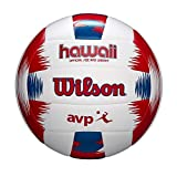 Wilson - WTH80219XB - Ballon de Beach-volley, AVP Hawaii, Rouge/Bleu, Simili cuir, Extérieur, Taille officielle
