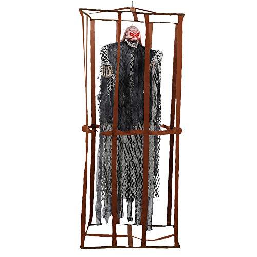 Comficent Esqueleto Preso de Halloween de Valla prisión Adornos Prisioneros Colgante Fantasmas Horror Props 90CM Decoracion para Fiesta (Gris)