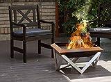 SvenskaV Design-Feuerschale GILGE aus Rohstahl, in verschiedenen Größen | Feuerkorb Feuerstelle Terrassenofen Gartendeko Garten Dekoration Rost Rostoptik (63 cm)