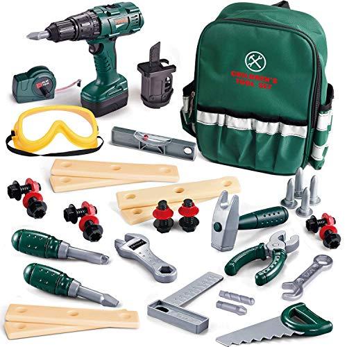 Fun Little Toys - Juego de herramientas para niños, 35 piezas, incluye taladro electrónico inalámbrico, accesorios de herramientas y una bolsa de herramientas resistente