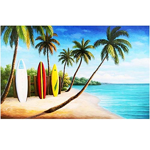 DIY 5D Diamond Painting Kits Large Full Drill Adults/Kids Rhinestone Puzzle Diamond Art Craft for Wall Decor Cocotero de playa 50x100cm Round Drill Q7945