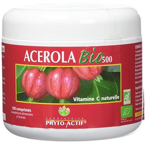 Phyto-Actif - Acérola Bio 500 - Pot Familial 100 cp