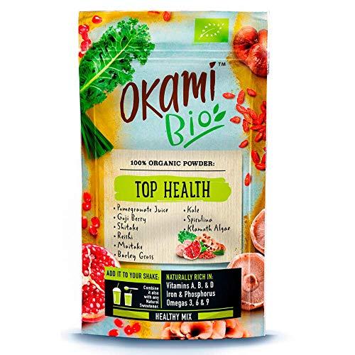 "Okami Bio""Top Health"" Superfood Powder Mix 150gr | Mezcla orgánica de Zumo de granada, Bayas de Goji, Shiitake, Reishi, Maitake, Col Rizada, Espirulina, Algas Klamath - 150gr."