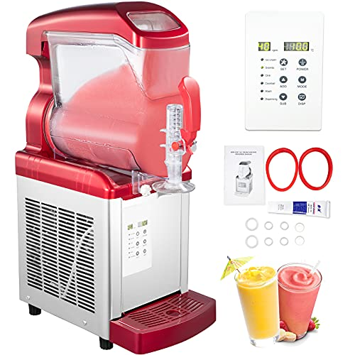 VEVOR 2 in 1 Commercial Slushy Machine, 6L 450W Soft Ice Cream Maker, 110V Temperature-10℃ to 5℃ LED Display Automatic Clean Preservation Function