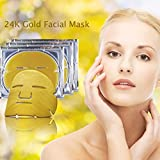 Violet Flames PACK OF 3 24k Gold Facial Mask - Anti-Wrinkle Skin Whitening and Moisturizing Pore Minimizing Treatment - Bio-collagen Crystal Facial Mask For Anti Aging Skin Rejuvenation and Repair