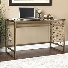 I Love Living Quatrefoil Goldtone Metal and Glass Writing Desk (31.5