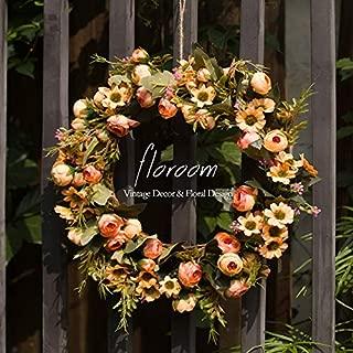 Floral Wreath, Door Wreath, Artificial Orange Fall Wreath for Front Door 15'', Wall Decor