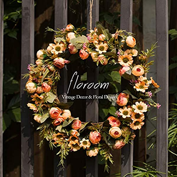 Floral Wreath Door Wreath Artificial Orange Wreath For Front Door 15