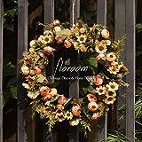 Floral Wreath, Door Wreath, Artificial Orange Wreath for Front Door 15'', Front Door Decorations Wall Decor