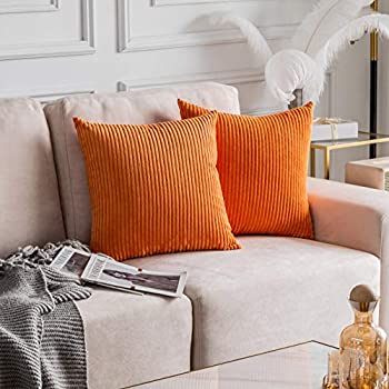 Home Brilliant Decorative Accent Pillow Covers Case Striped Corduroy Plush Velvet Cushion Cover for Couch Rust Set of 2 Burnt Orange 18x18 inches  45cm