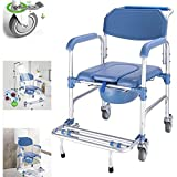 YLEI Bedside Commode - Personal Mobility Assist Shower Commode Wheelchair Medical Transport Rolling Chair Waterproof, Bariatric Drop-Arm Commode, for Elderly Seniors, Disabled(Multifunction)