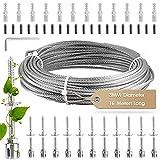 S SMAUTOP Support pour Plantes, Treillis en Acier Inoxydable pour Plantes grimpantes (12 Supports, Corde de 16 m)