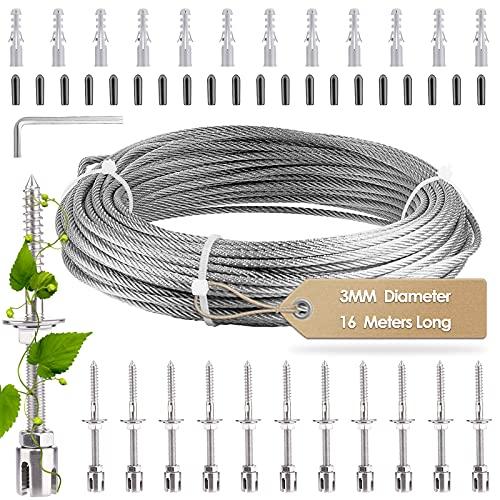 S SMAUTOP Rankhilfe aus Edelstahl für Kletterpflanzen, Profi-System als Komplettset mit Wandhaltern und 3mm Stahlseil (12 Halter, 16m Seil )