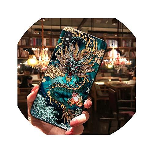 Funda para iPhone XR XS 11 Pro Max X 8 7 Plus 6 6s + funda 3D relieve Dragon Tiger patrón mate suave para iPhone 11, para iPhone XR, Green Dragon