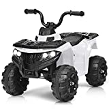 Costzon Ride on ATV, 6V Battery Powered Kids Electric Vehicle, 4 Wheeler Quad w/Headlights, MP3, USB, Volume Control, Large Seat, Electric Ride on Toys for Boys& Girls (White)