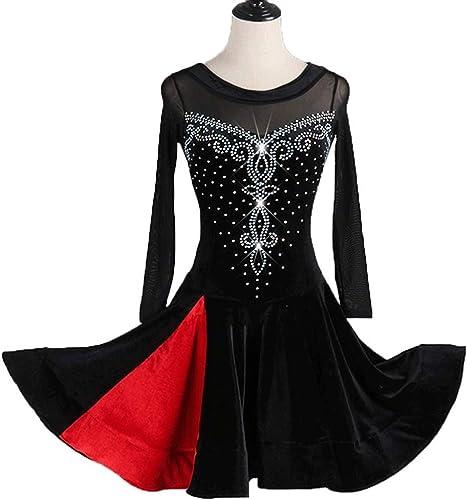 CX Femmes Danse Latine Velours Strass Manches Longues Robes Perforhommece élasticité Jupe